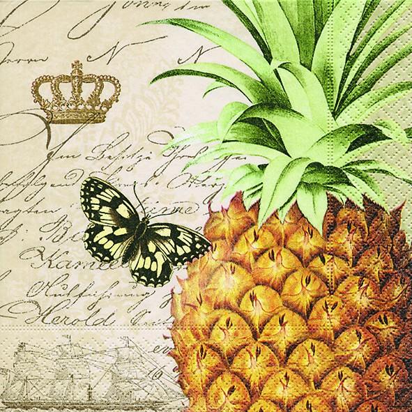 20 Servietten Royal Pineapple - Große Ananas 33x33cm