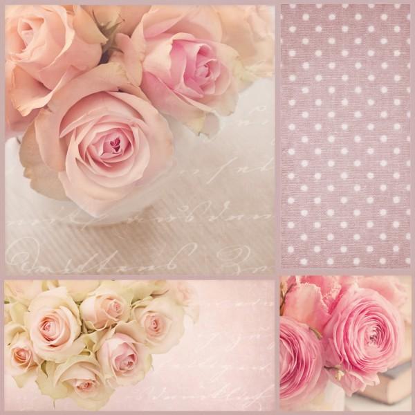 20 Servietten Blumen Rosen Hochzeit Tischdeko Motiv Natur Bouquet