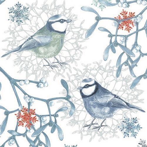 20 Servietten Blue Chickadees - Eisige Vögel im Winter 33x33cm