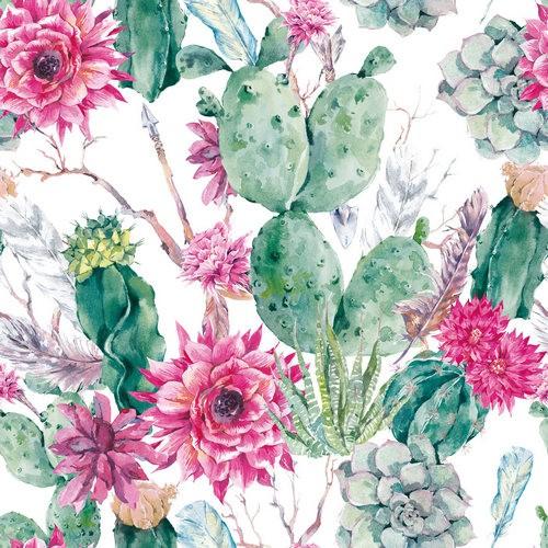20 Servietten Cactus Flower 33x33cm