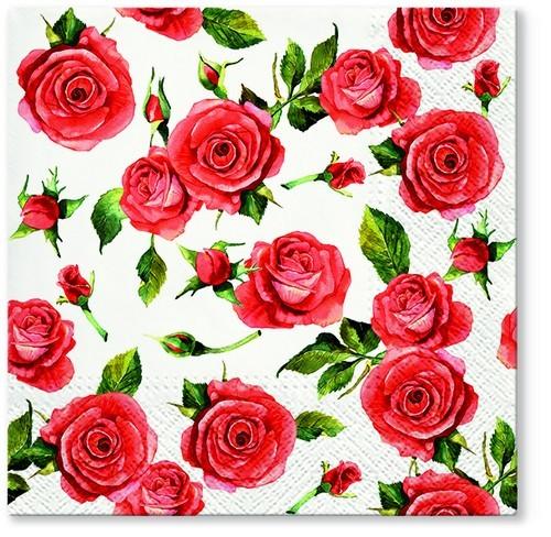20 Servietten Rosy Style 33x33cm