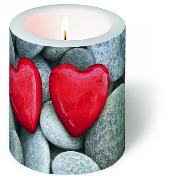 Kerze rund Love Stones - Steine der Liebe Ø 9cm, Höhe 10cm