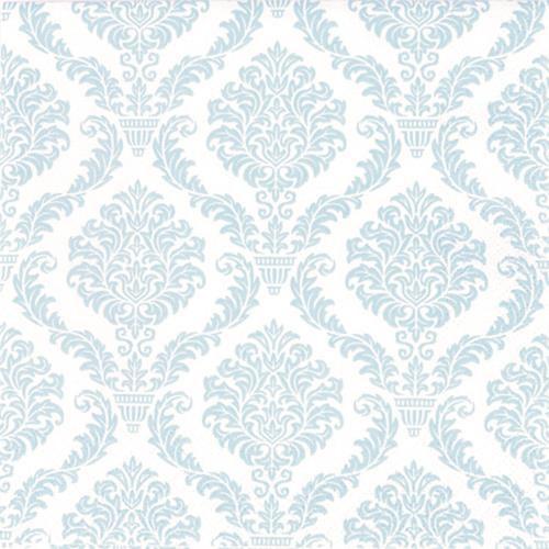 20 Servietten Elegant pastell blue - Muster hellblau 33x33cm