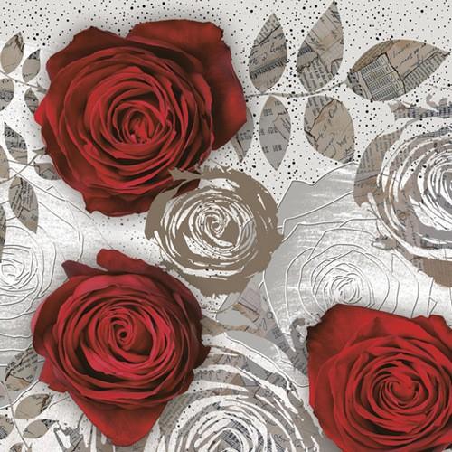 20 Servietten Red Roses with Floral Prints – Rote Rosen in Blumenkonturen 33x33cm