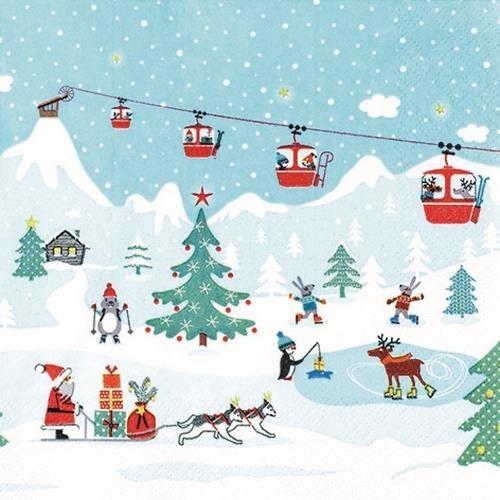 20 Servietten Ski Resort - Ausflug zum Skihang 33x33cm