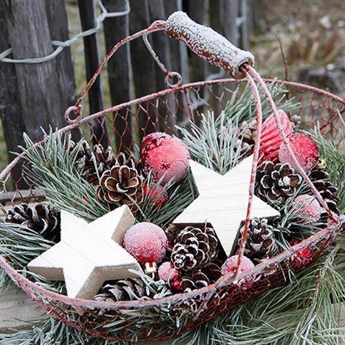 20 Servietten Frozen Basket - Gefrorener Weihnachtskorb 33x33cm
