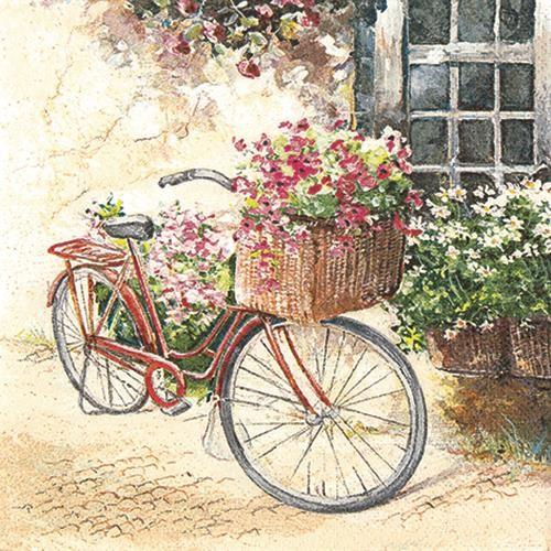 20 Servietten Flowerbike - Blumenfahrrad 33x33cm