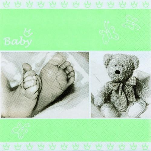 20 Servietten Baby light green - Babyfüße hellgrün 33x33cm
