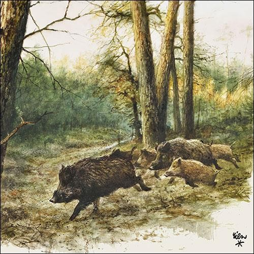 20 Servietten Wild Boars in the Woods 33x33cm
