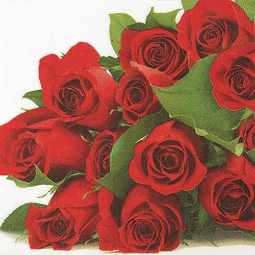 20 Servietten Bunch Of Roses Unzahlige Rote Rosen 33x33cm