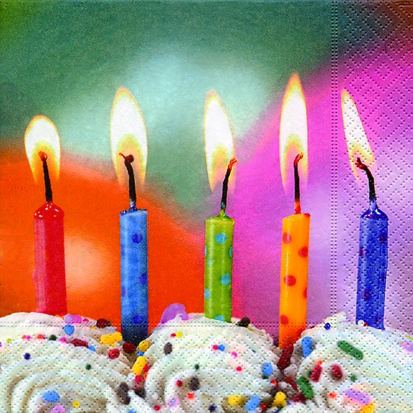 RP 20 Servietten Five Wishes - Kerzen zum Ausblasen 33x33cm