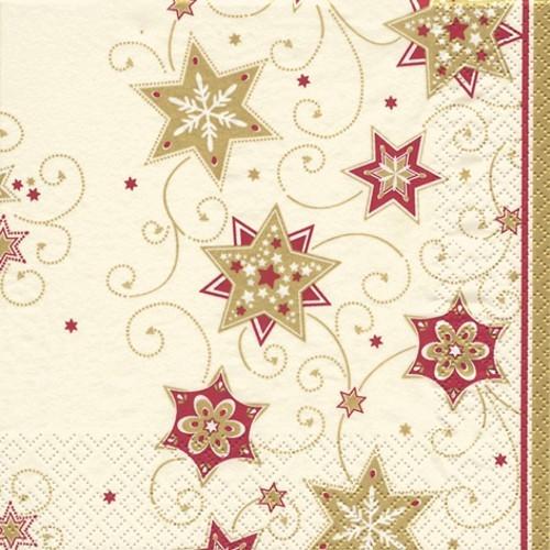 20 Servietten Stars & Swirls gold - Sterne & Wirbel gold 33x33cm
