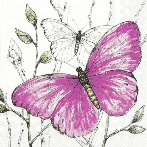 IHR Servietten Colourful Butterflies pink 33x33cm