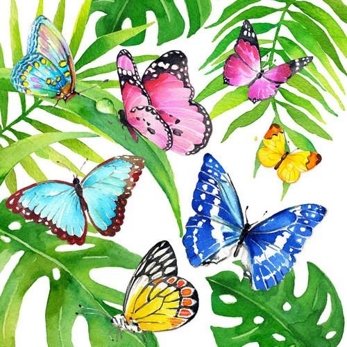 PPD Servietten Tropical Butterflies 33x33cm