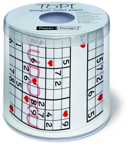 Toilettenpapier Rolle bedruckt Sudoku Herzen