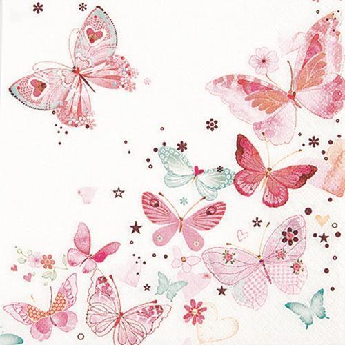20 Servietten Lovely Butterflies - Reizende Schmetterlinge 33x33cm