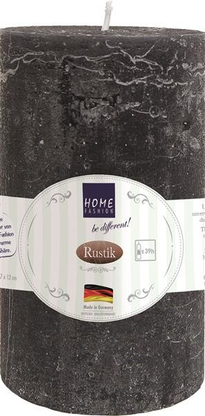 Kerze Stumpen Rustik black - schwarz Ø 7cm, Höhe 12cm