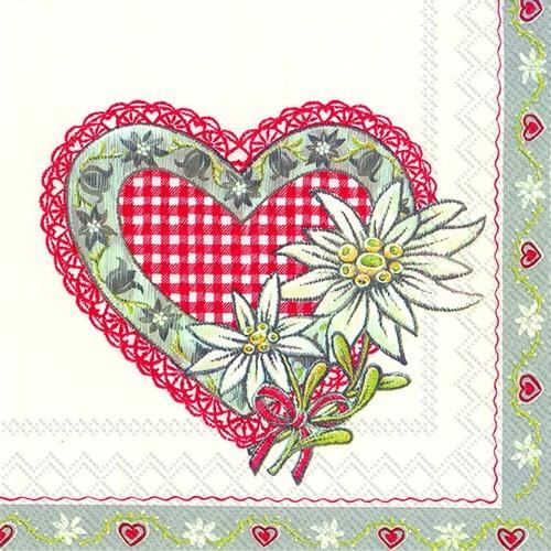 20 Servietten Lovely Edelweiss red 33x33cm