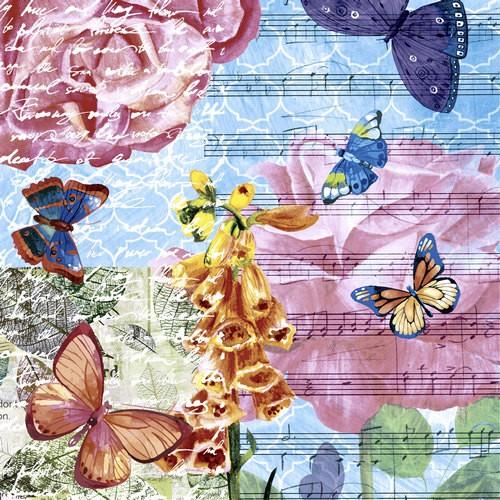 20 Servietten Musical Garden 33x33cm