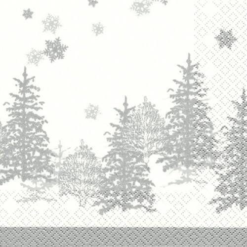 20 Servietten Tree and Snowflakes - Bäume & Schneeflocken silber 33x33cm