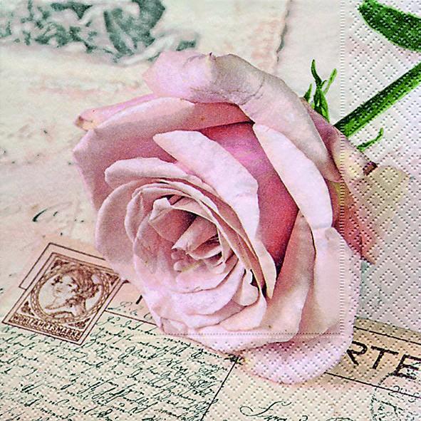 20 Servietten Postcard Rose - Herzliche Postkarte 33x33cm