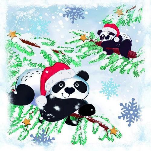 20 Servietten Pandas in Snow – Lustige Pandabären im Winter 33x33cm