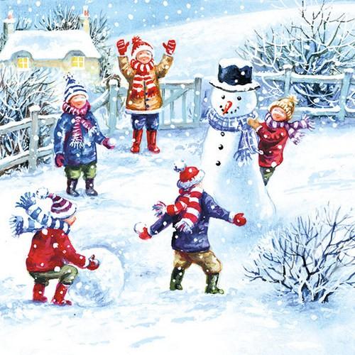 20 Servietten Snowfun - Kinder haben Spaß im Schnee 33x33cm