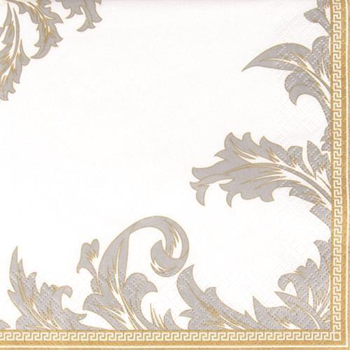 20 Servietten Luxury gold/silver - Ornamente edel gold/silber 33x33cm