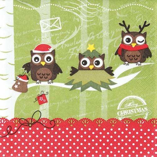 20 Servietten Dressed up owls - Verkleidete Eulen 33x33cm
