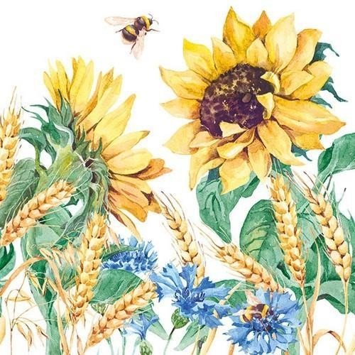 Ambiente Servietten Sunflower and Wheat white 33x33cm
