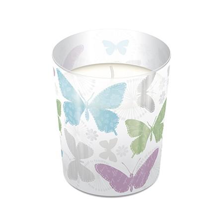 Glaskerze Soft Butterflies - Zierliche Schmetterlinge Ø7,9cm, Höhe 9,4cm
