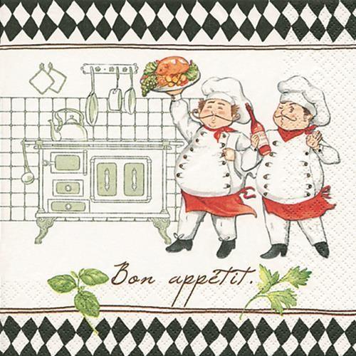 20 Servietten Jacques and Luigi - In der Küche 33x33cm