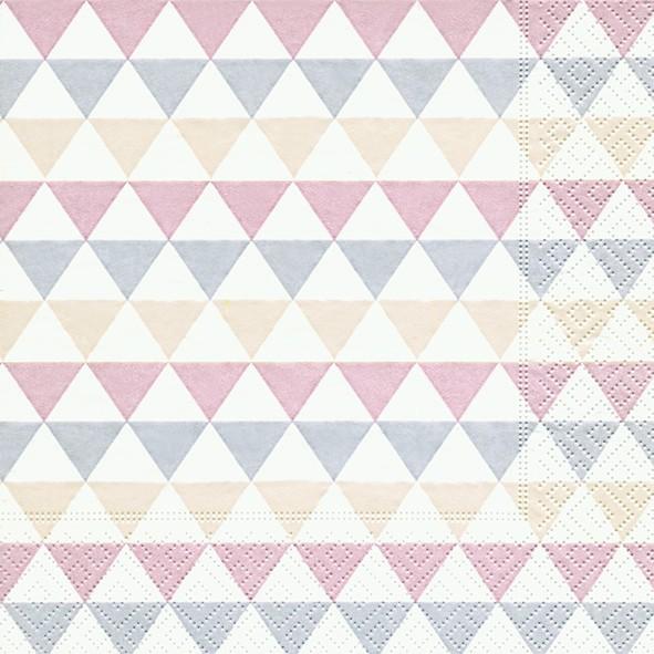 20 Servietten Triangle Pattern - Mini-Dreiecke grau/beige 33x33cm