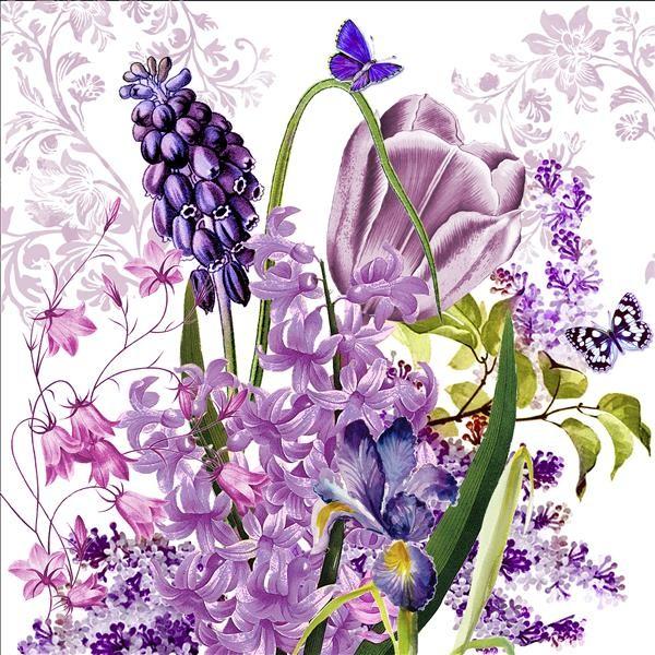 20 Servietten Collage voller Tulpen als Tischdeko f/ür Ostern und Fr/ühling mit Blumen 33x33cm