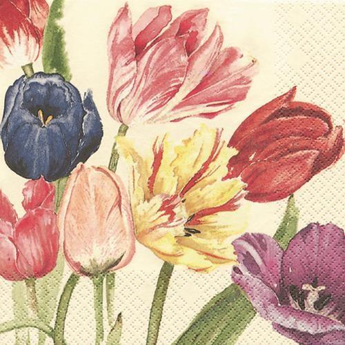 20 Servietten Amsterdam Tulips - Niederländische Tulpen 33x33cm
