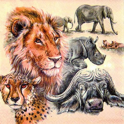 20 Servietten The big Five - Die größten Afrikas 33x33cm