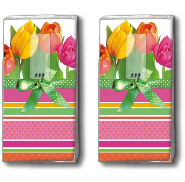 DP 10 Taschentücher Tulips and stripes - Tulpen und Streifen