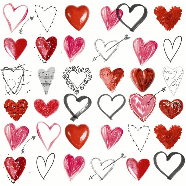20 Cocktailservietten Cupids Arrow – Liebende Herzen 24x24cm