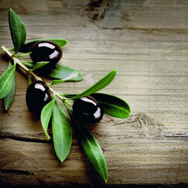 20 Servietten Olives on a Wood - Oliven auf Holz 33x33cm