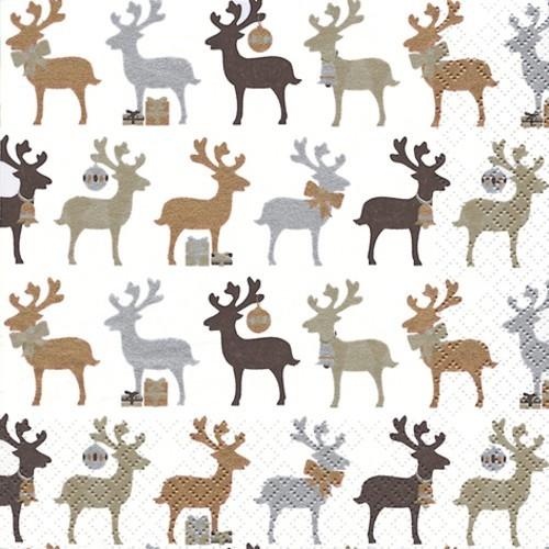 20 Servietten Reindeer kupfer - Elche kupfer 33x33cm