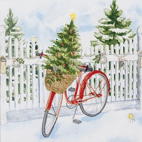 20 Servietten Christmas Bike 33x33cm