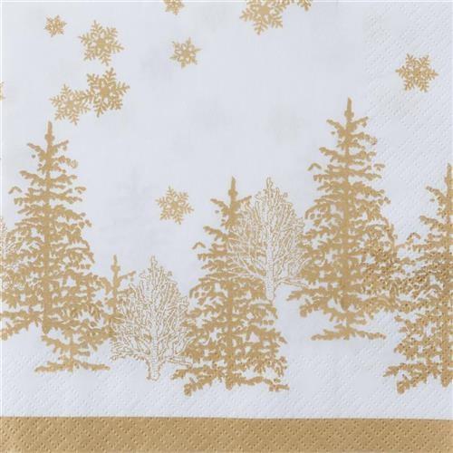 20 Servietten Tree and Snowflakes gold - Bäume & Schneeflocken gold 33x33cm