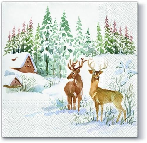 20 Servietten Deers on Snow - Hirsche in Schneelandschaft 33x33cm