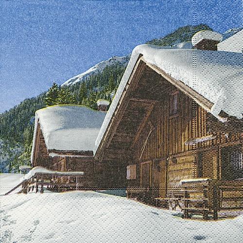 20 Servietten Timbercottage - Winterliche Skihütte 33x33cm