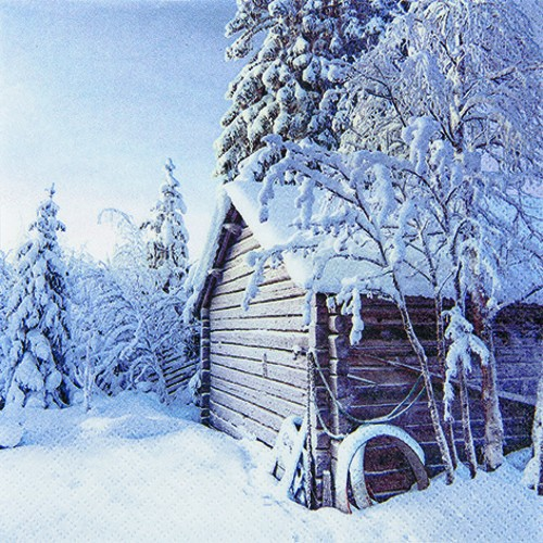 20 Servietten Winter Cabin - Winterhütte 33x33cm
