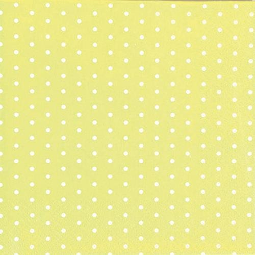 20 Servietten Mini Dots yellow/white - Mini-Punkte gelb/weiß 33x33cm