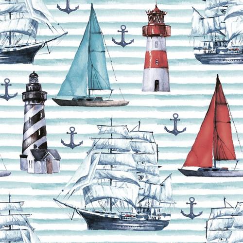 Maki Servietten Watercolor Sailing Motifs 33x33cm