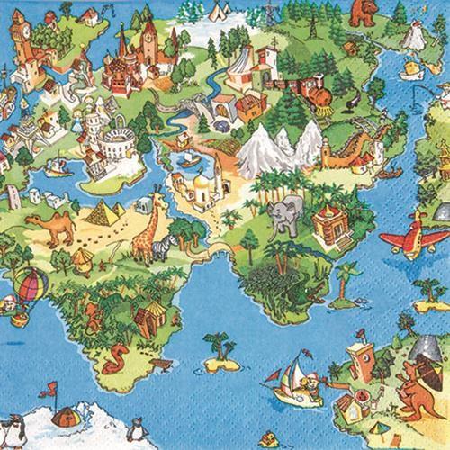20 Servietten World for Kids - Welt in Augen der Kinder 33x33cm